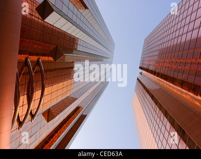 Copper-colored facades of office towers, modern architecture, Sheikh Zayed Road, Al Satwa, Dubai, United Arab Emirates - Stock Photo