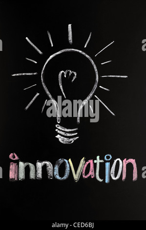 innovation with a bulb drawn in chalk on a blackboard - Stock Photo