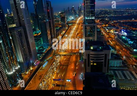 Evening at the Persian Gulf, traffic, city, downtown Dubai, Dubai, United Arab Emirates, Middle East - Stock Photo