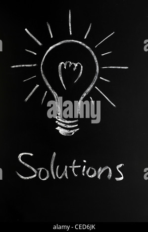 Solutions with a light bulb drawn on a blackboard - Stock Photo