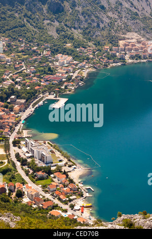 Aerial view on Risan town on coast of Kotor bay. - Stock Photo