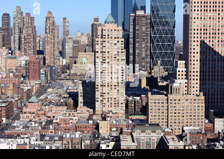 A view North from the 40th floor of an apartment building in midtown Manhattan in landscape. - Stock Photo
