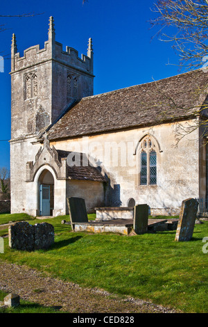 St.Nicholas, a typical traditional English country village church in Slaughterford, Wiltshire, England, UK - Stock Photo