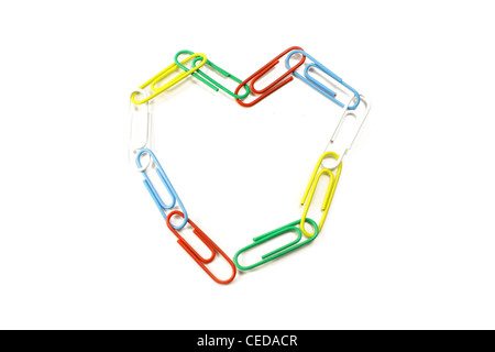 paper clips heart - Stock Photo