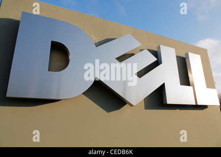 Dell Logo In Front Of The Dell Call Center In Halle Germany Stock