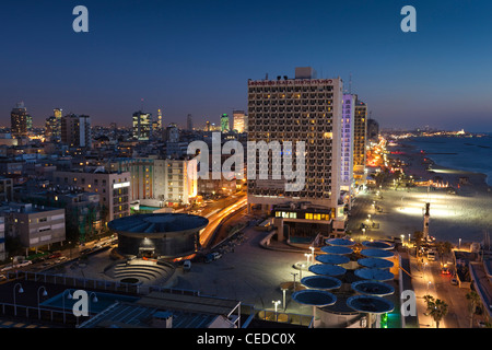 Israel, Tel Aviv, elevated beachfront view, evening - Stock Photo