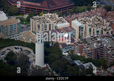 aerial photograph Coit Tower San Francisco, California - Stock Photo