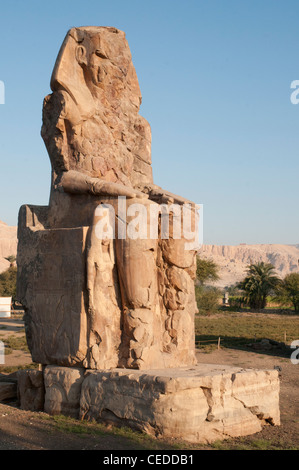 Colossi of Memnon on the West Bank of the Nile at Luxor - Stock Photo