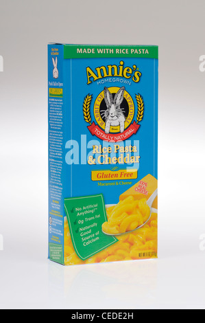 Box of Annie's Homegrown natural gluten-free macaroni and cheddar cheese rice pasta on white background, cutout. - Stock Photo