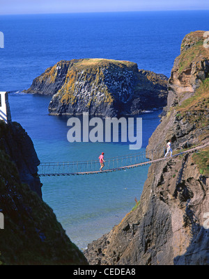 Carrick-A-Rede Rope Bridge, near Ballintoy, County Antrim, Northern Ireland, United Kingdom - Stock Photo