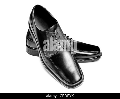 A pair of new leather dress shoes on a white background - Stock Photo