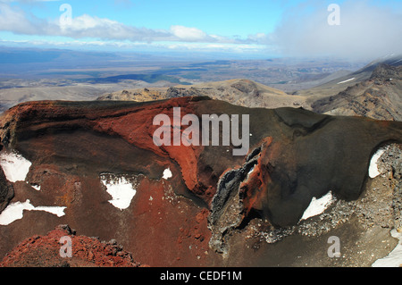 A volcanic vent in the Red Crater in Tongariro National Park in New Zealand - Stock Photo