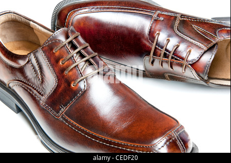 Close up of a new pair of brown leather dress shoes - Stock Photo