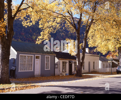 Colonial cottages in autumn colours, Buckingham Street, Arrowtown, Otago Region, South Island, New Zealand - Stock Photo