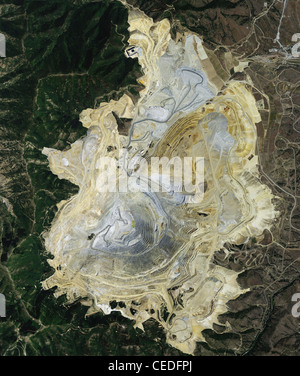 aerial photo map  Bingham Canyon  Kennecott Copper Mine deepest open pit copper mining operation in the world Utah - Stock Photo