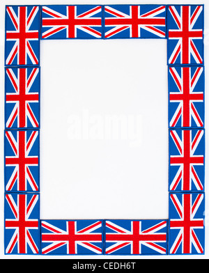 Union Jack flag embroidered patch frame pattern on white background - Stock Photo