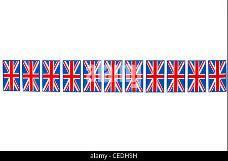 Union Jack flag embroidered patch line pattern on white background - Stock Photo