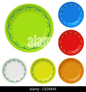 Set of disposable plates. Illustration on white background - Stock Photo