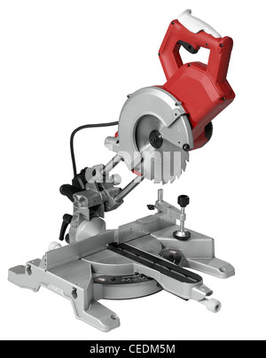 studio photography of a circular saw in white back - Stock Photo