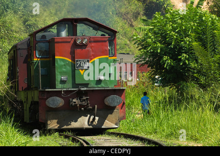 The Badulla to Colombo train, a scenic ride through the Central Highlands with it's mountains & tea plantations; - Stock Photo