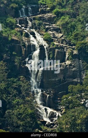 Little Ravana (Rawana) Falls en route to Ella Rock, the upper level of the famous falls by the road below; Ella, - Stock Photo