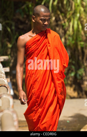 Buddhist monk in orange robe at Rawana (Ravana) Falls, a popular sight on the highway through Ella Gap; Ella, Sri - Stock Photo