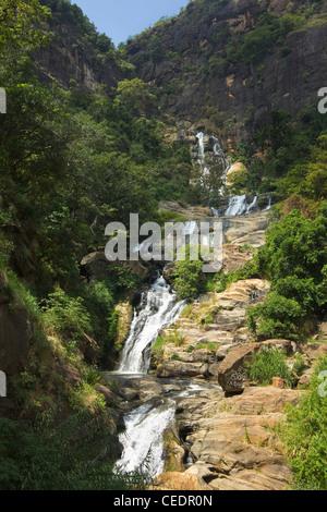 Rawana (Ravana) Falls, a popular sight by the highway to the coast as it drops thru Ella Gap; Ella, Central Highlands, - Stock Photo