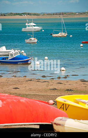 France, Brittany, boat at Port-Louis bay - Stock Photo
