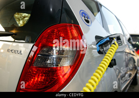 Mercedes Benz A-Class E-CELL during charging, electric car, Hanover, Lower Saxony, Germany - Stock Photo