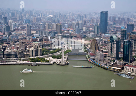 View from the Oriental Pearl Tower on the river Huangpu and the Suzhou Creek - Shanghai (China) - Stock Photo