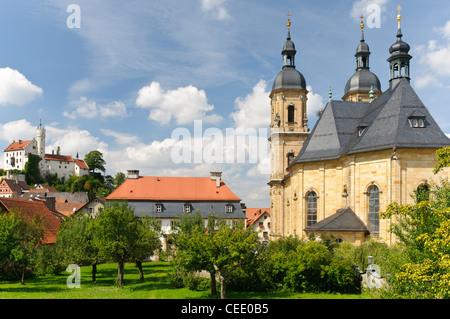Pilgrimage Church of the Holy Trinity or Goessweinstein Basilica, Goessweinstein Abbey,  Goessweinstein, Bavaria, - Stock Photo