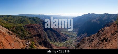 Panoramic shot of the steep rock sides of Waimea Canyone on Kauai - Stock Photo