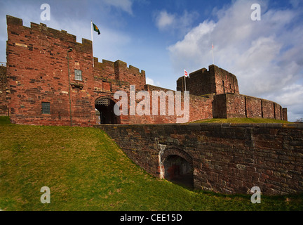 Carlisle Castle exterior from the front with the keep and bridge over the moat to the main entrance gate with portcullis - Stock Photo