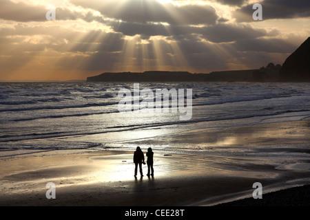 Sunrays over Sidmouth, Devon - Stock Photo
