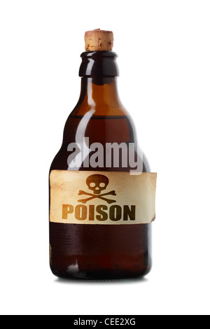 Vintage bottle with poison isolated over white background - Stock Photo