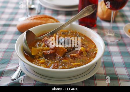 Asturian stew, Spanish cuisine - Stock Photo