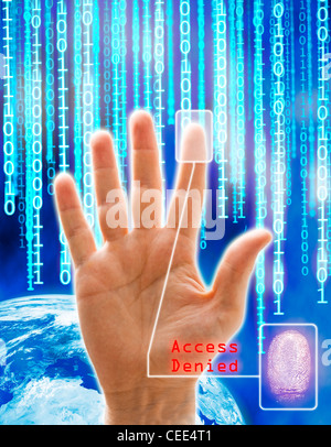 Image concept of security and technology. All the images are computer generated except the hand that is a physical - Stock Photo