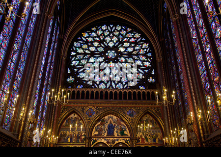 Stained Glass in Sainte-Chapelle in Paris France - Stock Photo