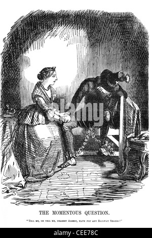 Punch cartoon 1845: 'The Momentous Question.' - Stock Photo