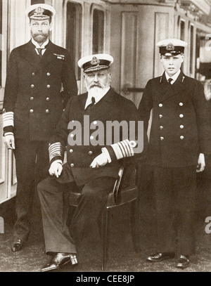 From left, Prince of Wales, later King George V, King Edward VII, seated, and Prince Edward, later Edward VIII. - Stock Photo