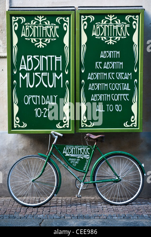 Absinth Museum in the Old town of Prague, Czech Republic - Stock Photo