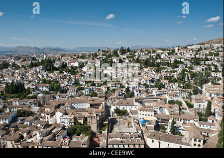 Albaicin district viewed from the Alhambra, Granada, Andalucia, Spain - Stock Photo