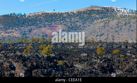 Lava field by the Sunset Crater volcano in Flagstaff, Arizona - Stock Photo