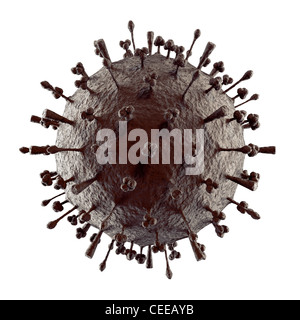 Flu virus H1N1 H5N1 influenza A virus particle virion. Swine flu, avian flu particle structure.3D illustration isolated - Stock Photo