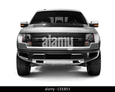 Front view of 2011 Ford F-150 SVT Raptor 4x4 pickup truck isoalted on white background with clipping path - Stock Photo