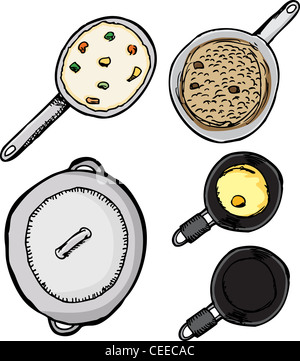 Top-view of pots and pans with food isolated over white - Stock Photo