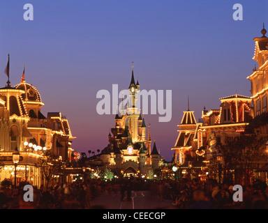 Fantasyland showing Sleeping Beauty's Castle, Disneyland Paris, Marne-la-Vallée, near Paris, Île-de-France, France - Stock Photo