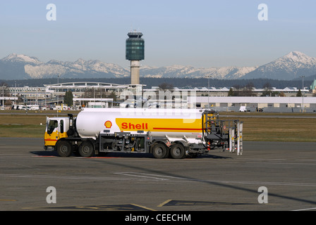 Shell jet fuel tanker truck carrying at the Vancouver International Airport. - Stock Photo