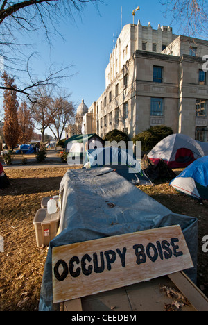 Occupy Boise encampment in front of the old Ada County Courthouse on December 19, 2011 - Stock Photo