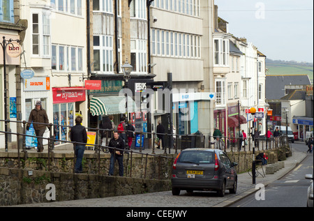 Market Jew Street shops in Penzance, Cornwall UK. - Stock Photo